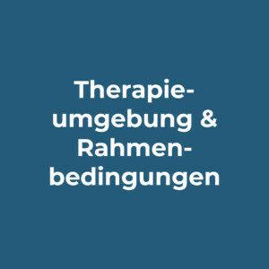 Grafik mit Text: Therapieumgebung und Rahmenbedingungen